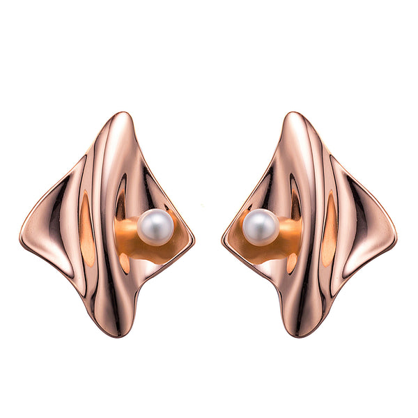 Rose Gold Futuristic Pearl Earrings