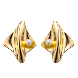 Gold Futuristic Pearl Earrings