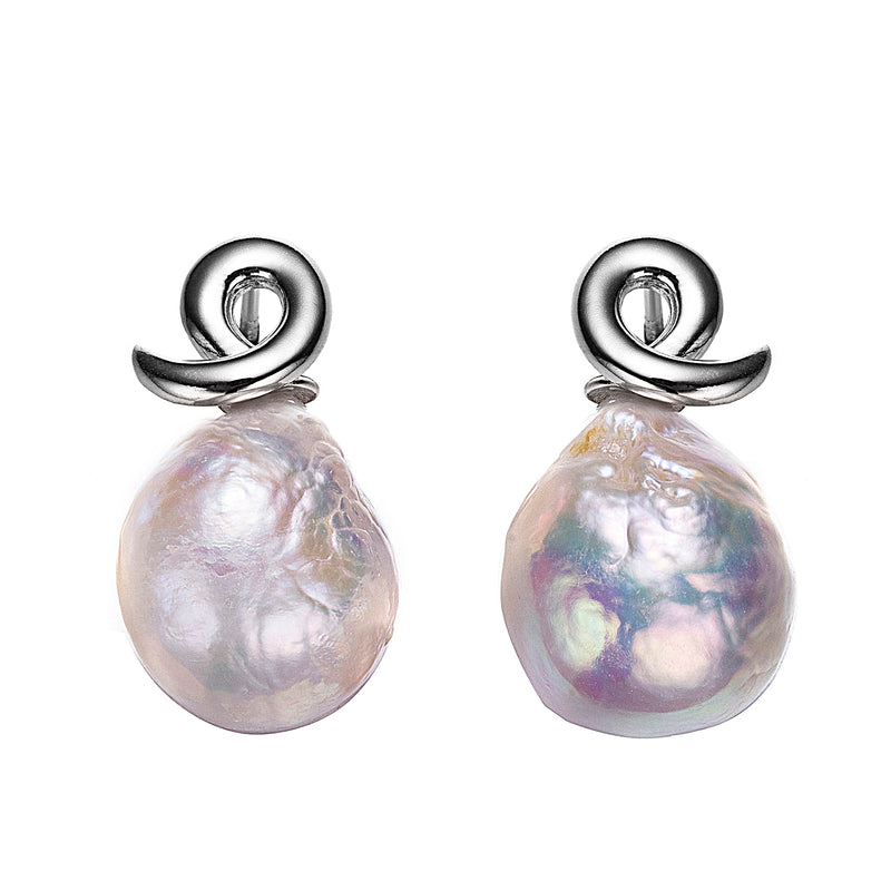 Silver Altlantis Edison Pearl Earrings