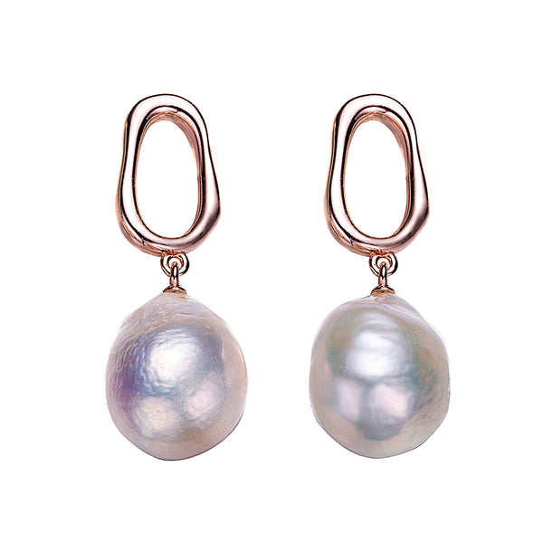 Rose Gold Loop Pearl Earrings