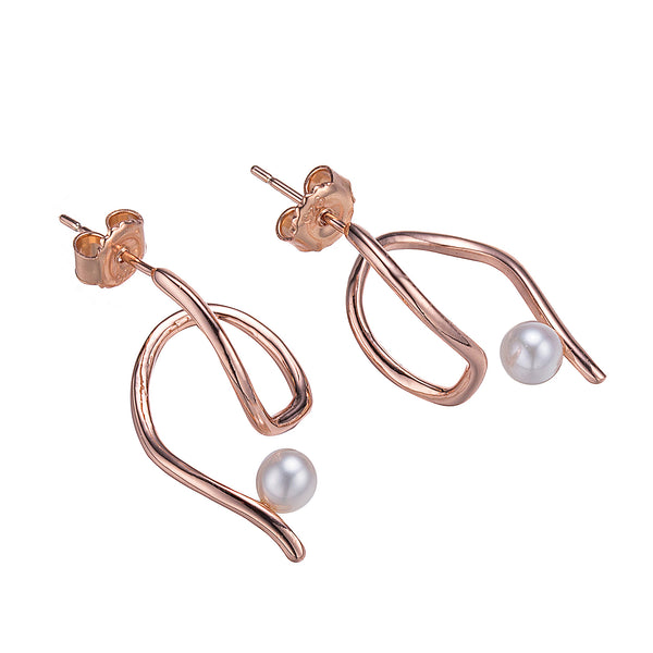 Rose Gold Trident Pearl Stud Earrings