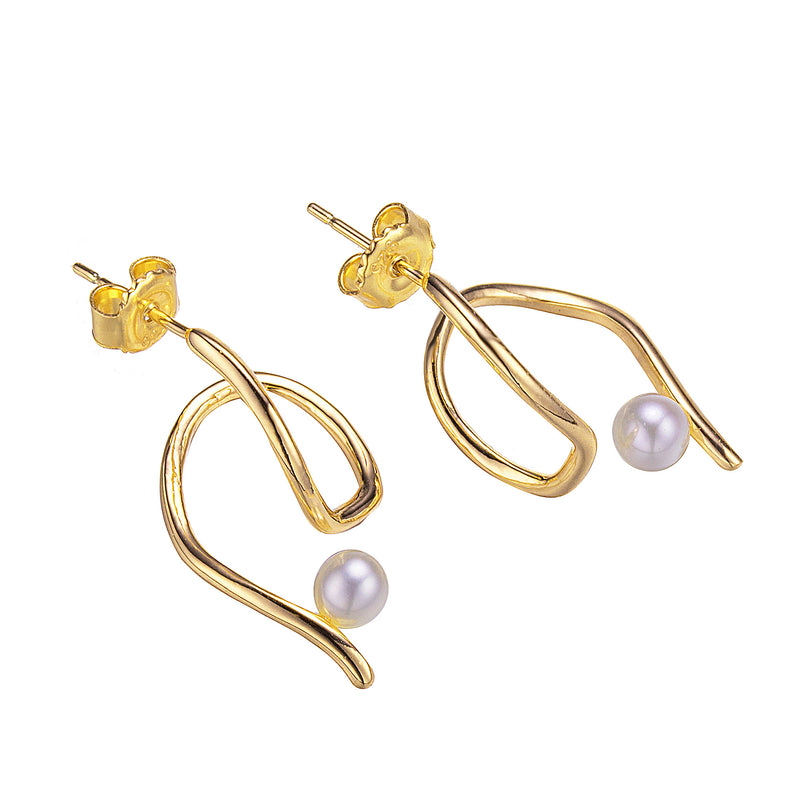 Gold Trident Pearl Stud Earrings