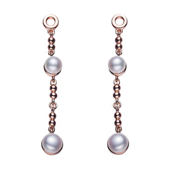 The Librarian Rose Gold Pearl Drop Earrings