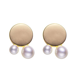 Gold Concentric Circles Pearl Earrings