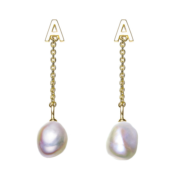 A Letter Gold Pearl Drop Earrings