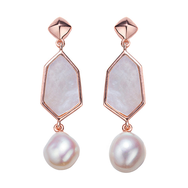 Rose Gold Victorian Lady Drop Pearl Earrings