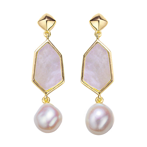 Gold Victorian Lady Drop Pearl Earrings