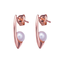 Rose Gold Pretty in Pink Pearl Earrings