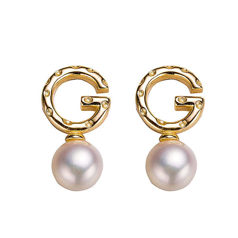 Gold G Letter Pearl Earrings