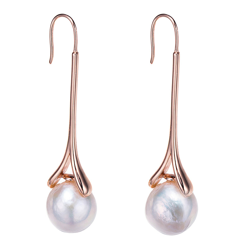 Rose Gold Eiffel Tower Drop Pearl Earrings