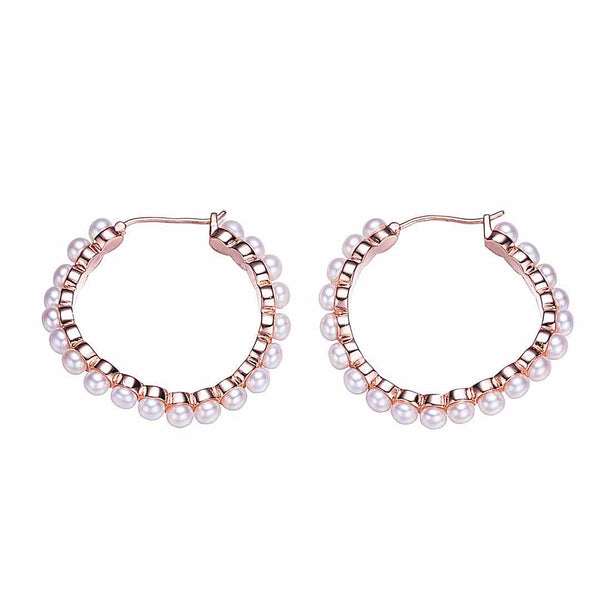 Rose Gold Pearly Lights Hoop Earrings