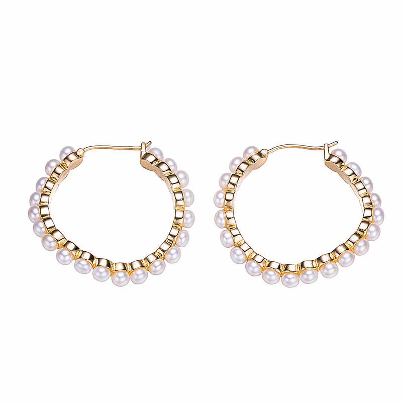 Gold Pearly Lights Hoop Earrings
