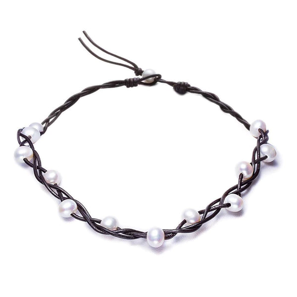 Black Leather Round Pearl Choker