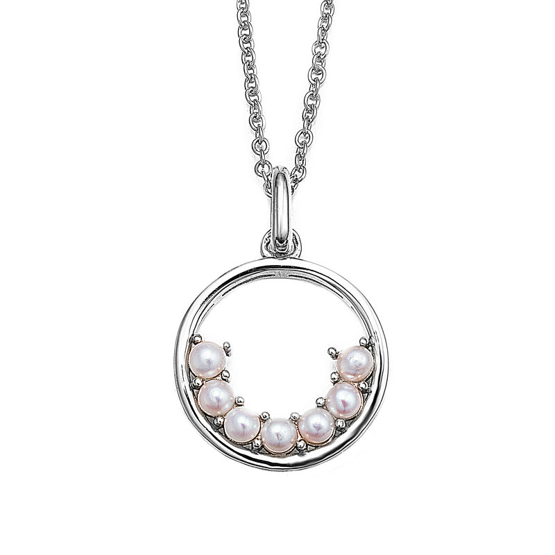 Silver Semi Circle Pearl Hoop Necklace
