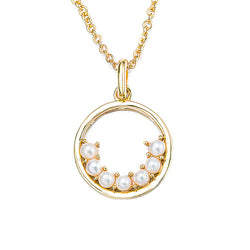 Gold Semi Circle Pearl Hoop Necklace