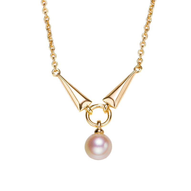 Rock and Roll Gold Pearl Pendant Necklace