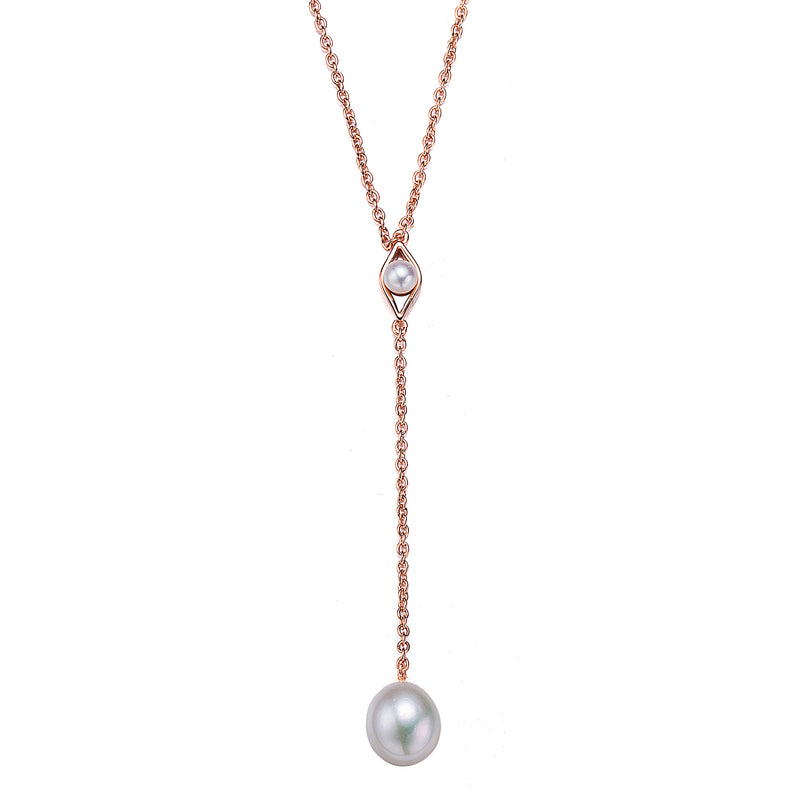 Rose Gold Runway Pearl Necklace