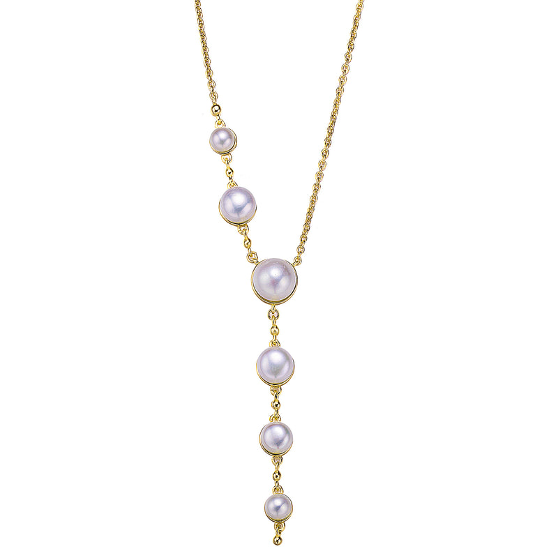 Gold Asymmetric Crystal and Pearl Necklace