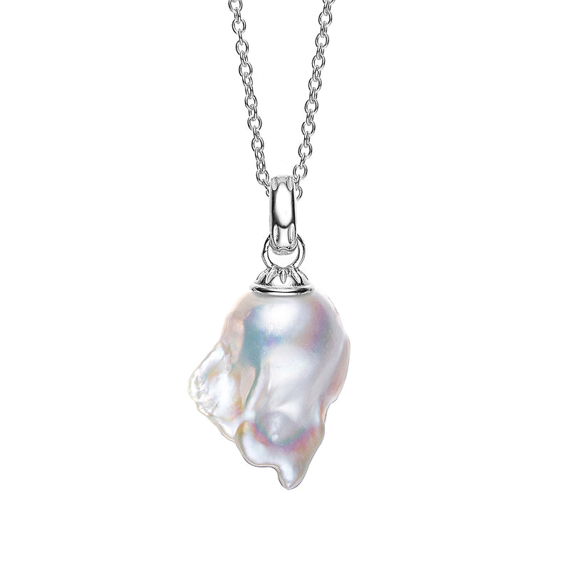 Pearly Shells Silver Pendant Necklace
