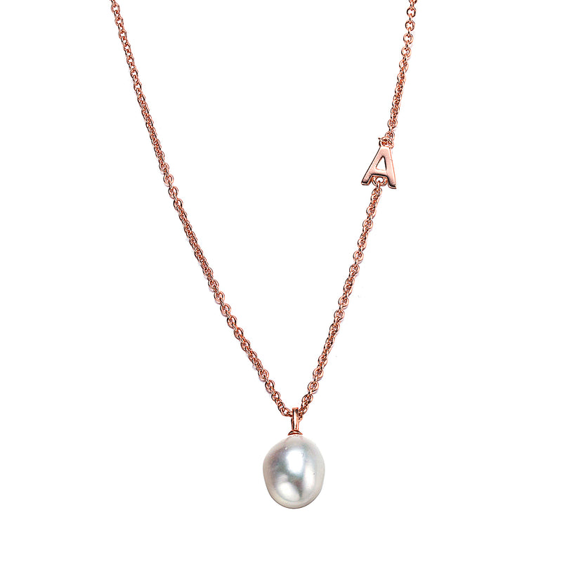 Classically Modern Rose Gold Baroque Pearl Necklace