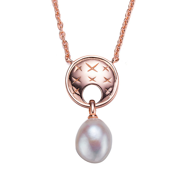 Designer Rose Gold Pearl Pendant Necklace