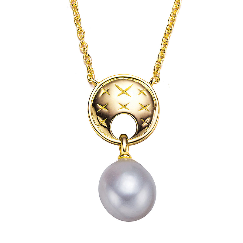 Designer Gold Pearl Pendant Necklace
