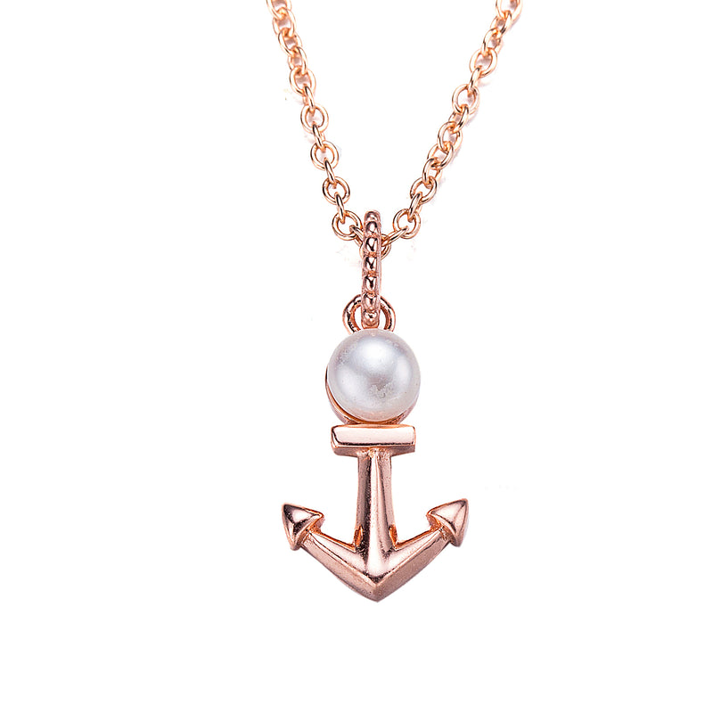 Rose Gold Anchors Away Pearl Pendant Necklace