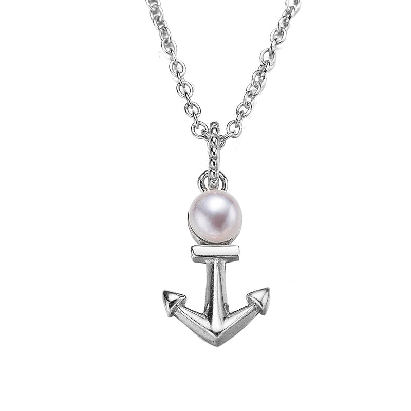 Silver Anchors Away Pearl Pendant Necklace