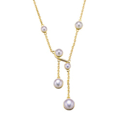 Gold Double Twist Pearl Pendant Necklace