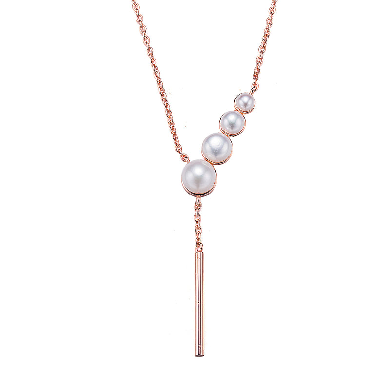 Cascading Rose Gold Pearl Pendant Necklace