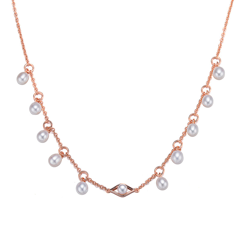 Rose Gold Inner Eye Button Pearl Statement Necklace