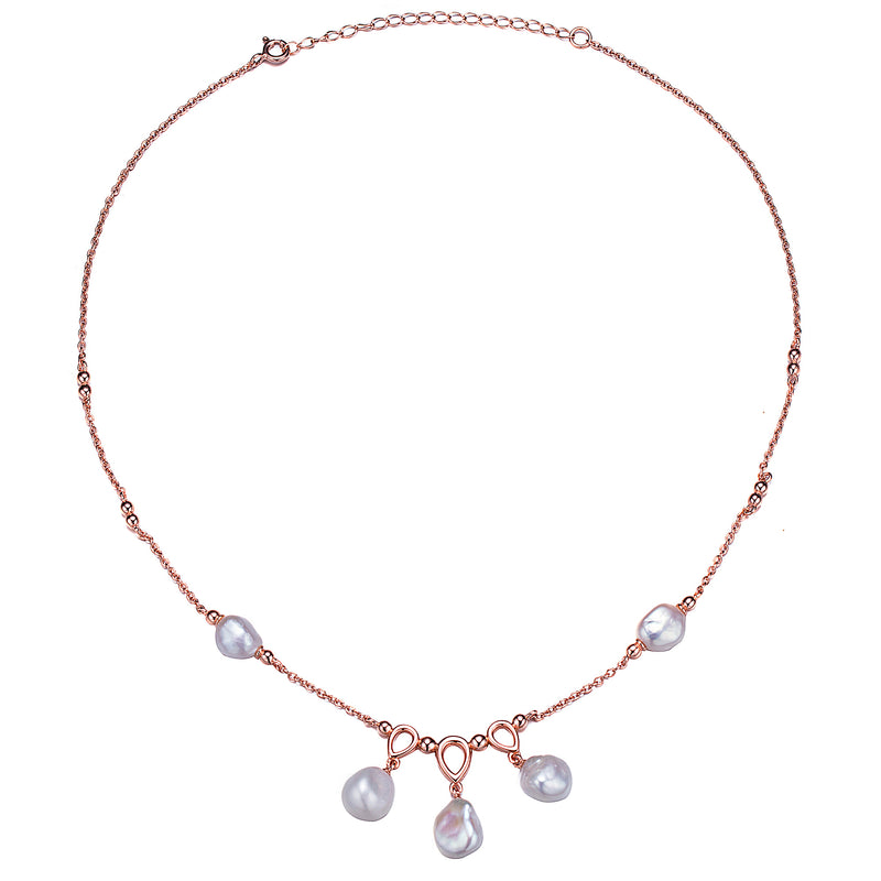 Rose Gold Triple Keshi Pearl Choker Necklace