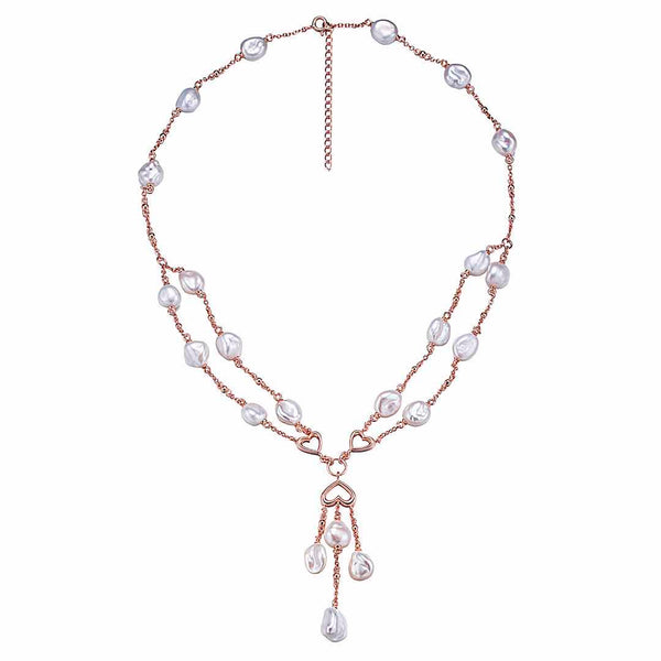 Aphrodite Rose Gold Pearl Necklace