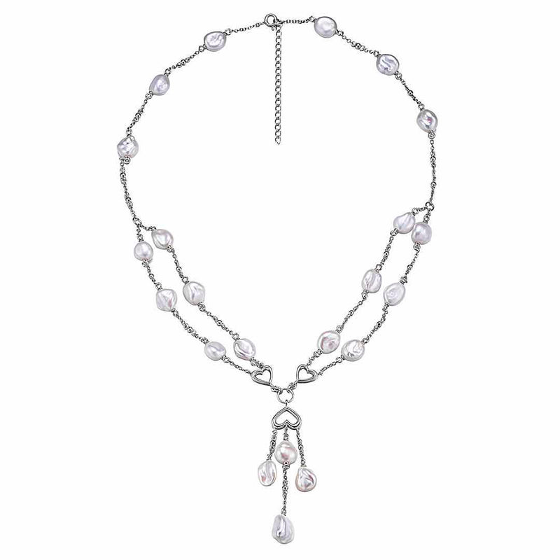 Aphrodite Silver Pearl Necklace