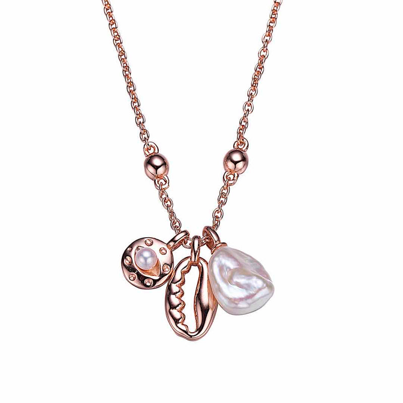 Rose Gold Twice Charmed Pearl Necklace