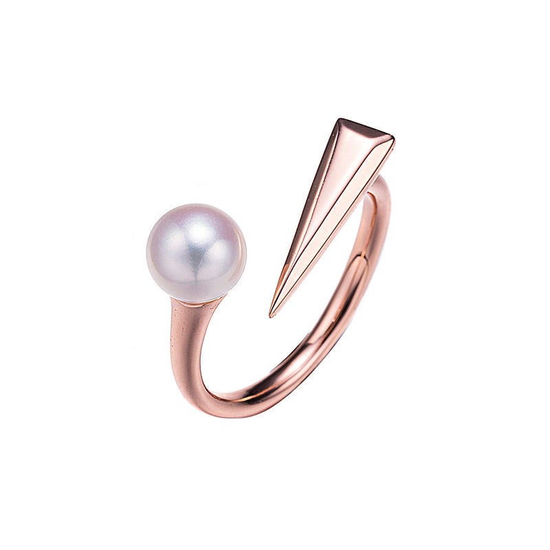 Rock and Roll Rose Gold Pearl Ring