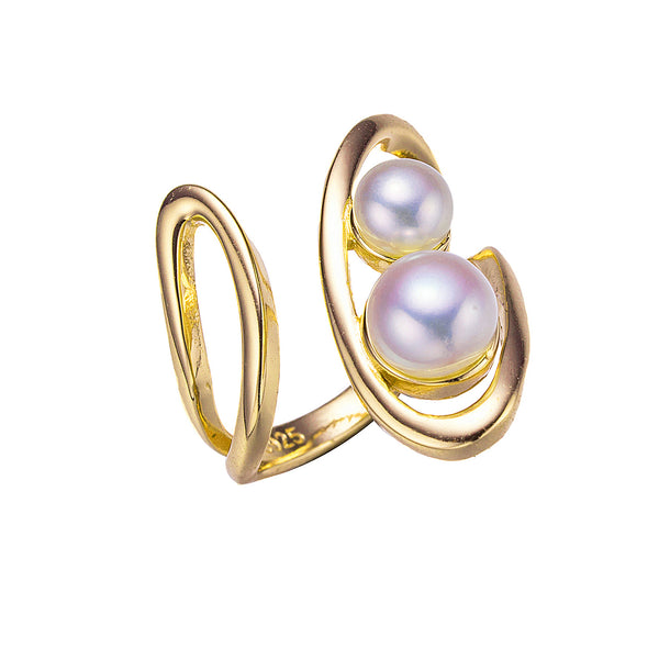 Moderna Gold Double Pearl Ring