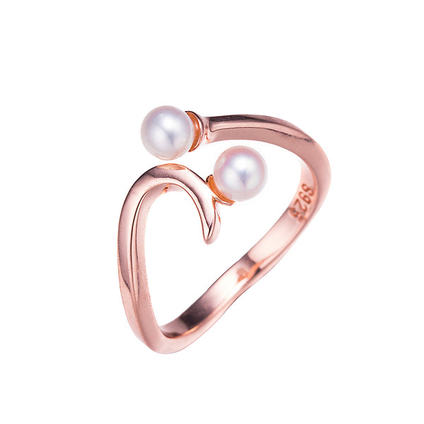 Twin Pearls Rose Gold Ring