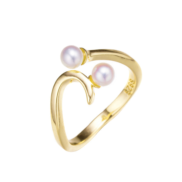 Twin Pearls Gold Ring