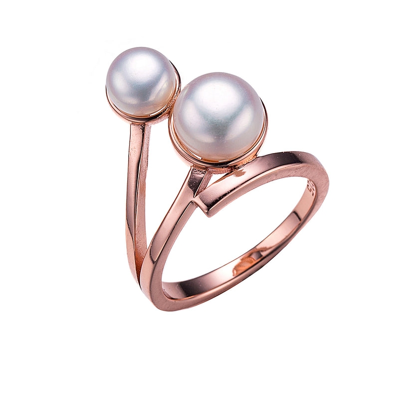 Linear Luster Rose Gold Pearl Ring