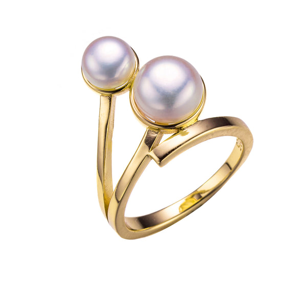 Linear Luster Gold Pearl Ring