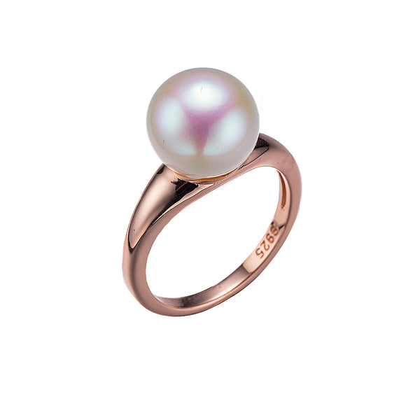 Classic Rose Gold Single Round Pearl Ring