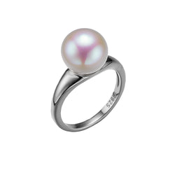 Classic Silver Single Round Pearl Ring
