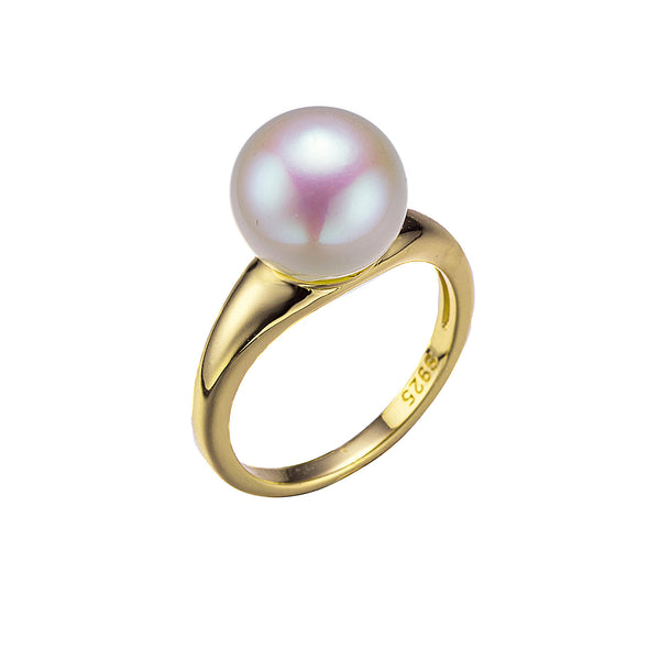 Classic Gold Single Round Pearl Ring
