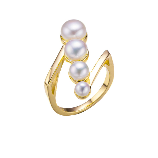 When Pearls Align Gold Pearl Ring