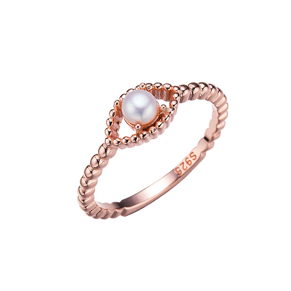 Beaded Rose Gold Pearl Ring