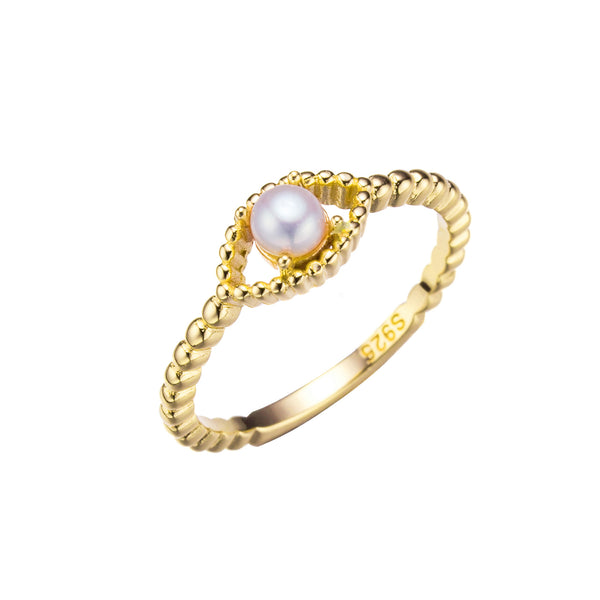 Beaded Gold Pearl Ring