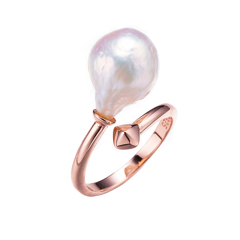 The Modern Duchess Rose Gold Pearl Ring