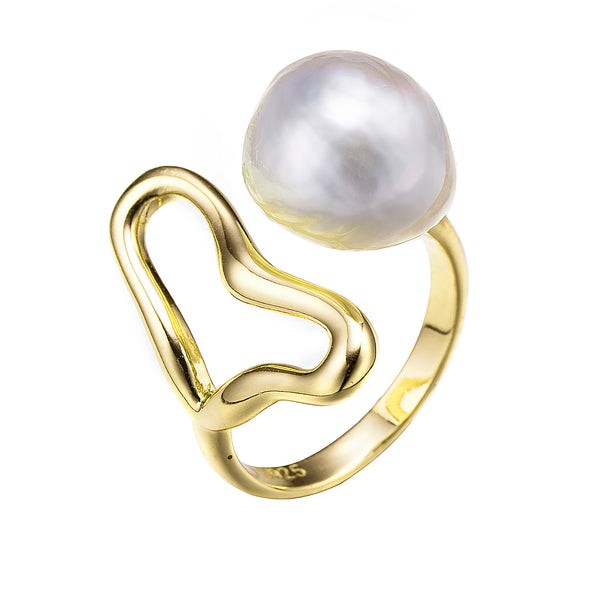 Gold Serpent Love Edison Pearl Ring