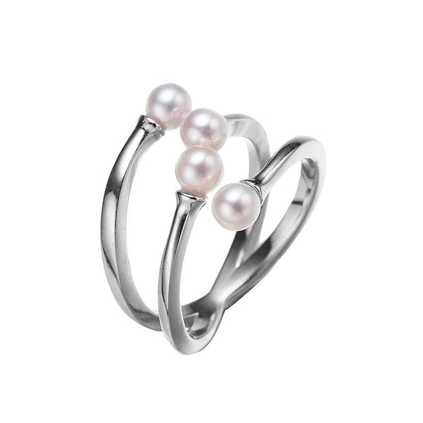 Silver Helix Pearl Ring